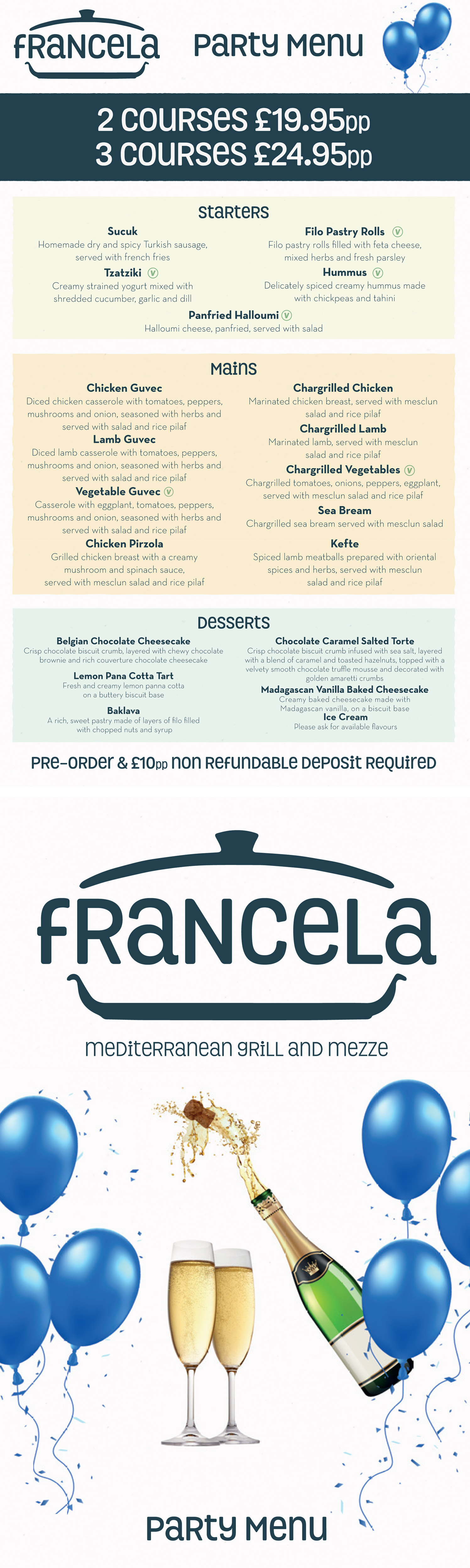 Francela Party Menu